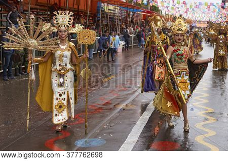 Oruro, Bolivia - February 25, 2017: Dancer Dressed In Ornate Inca Style Costume Parading Through The
