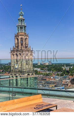 Groningen, Netherlands - July 13, 2020: Corona Bench On The Viewing Platform Of The Forum Building I
