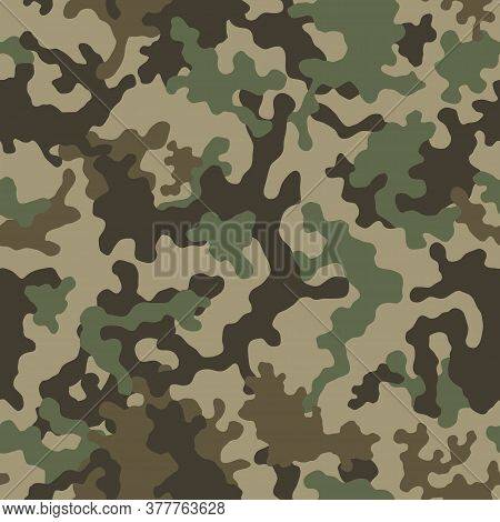 Camouflage Pattern Background Seamless Vector Illustration. Classic Clothing Style Masking Camo Repe