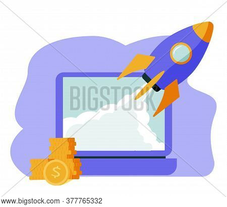 Isometric Rocket Fast Start Up Launch Laptop,ecommerce Business Start Up Project,button Press Start