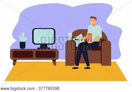 Cartoon Vector Illustration Of Man Sitting On The Couch And Watching Tv. Funny Characters On Isolate