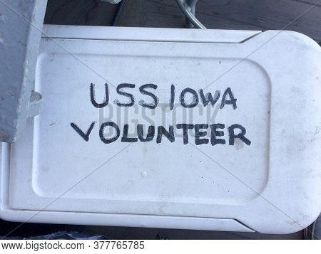 Uss Iowa Volunteer Sign Handwritten On Shite Plastic Tub Lid On Uss Iowa Naval Warship Destroyer Bat