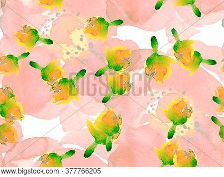 Exotic Swimwear Design. Hawaii Aquarelle Print. Summer Blossom Background. Botanical Floral Illustra
