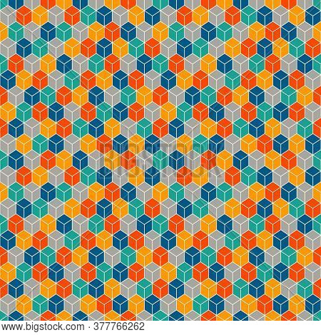 Repeated Vivid Color Cubes Background. Geometric Shapes Wallpaper. Seamless Surface Pattern Design W