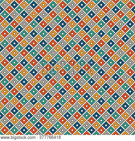 Repeated Bright Diamonds Background. Geometric Motif. Seamless Surface Pattern Design With Vivid Col