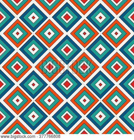 Repeated Bright Diamonds Background. Geometric Motif. Seamless Pattern With Vivid Square Ornament. G