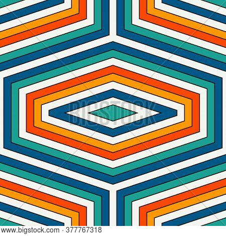 Seamless Pattern With Diamonds. Turtle Shell Motif. Honeycomb Wallpaper. Repeated Rhombuses And Loze