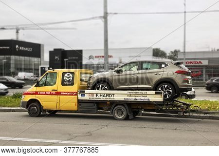 Kiev, Ukraine - May 19, 2020: Car On A Tow Truck. Hyundai Tucson Suv