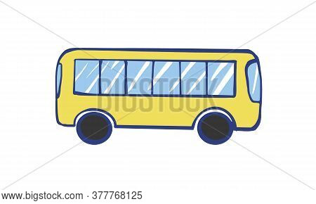 Vector Illustration Of A Yellow Bus. Public Transport Line Art Concept. Graphic Design Of A City Veh