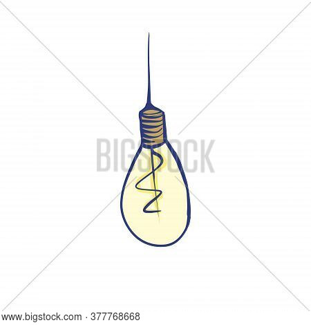 Color Illustration Of A Light Bulb. Stock Vector Illustration On A White Isolated Background. For A