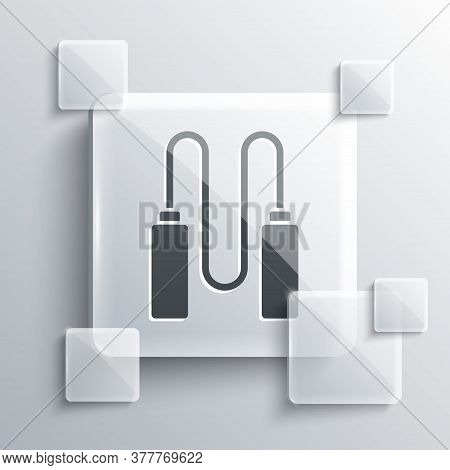 Grey Jump Rope Icon Isolated On Grey Background. Skipping Rope. Sport Equipment. Square Glass Panels