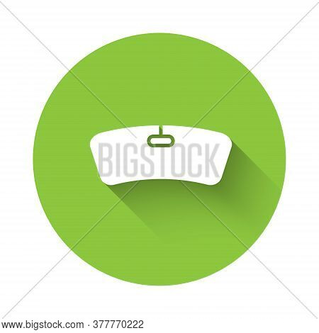 White Windshield Icon Isolated With Long Shadow. Green Circle Button. Vector Illustration