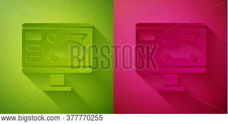 Paper Cut Hardware Diagnostics Condition Of Car Icon Isolated On Green And Pink Background. Car Serv