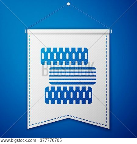 Blue Car Tire Wheel Icon Isolated On Blue Background. White Pennant Template. Vector Illustration