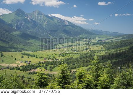 Beautiful View Of Mountains In Slovakia. Bachledova Dolina, Zdiar Village And Belianske Tatry Mounta