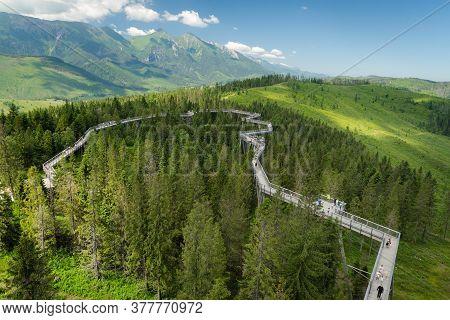 Bachledova Dolina, Slovakia - July 5, 2020: People Enjoying A Walk On A Tree Top Path In Bachledka S