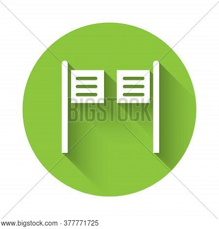 White Old Western Swinging Saloon Door Icon Isolated With Long Shadow. Green Circle Button. Vector I