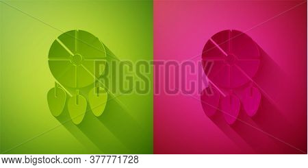 Paper Cut Dream Catcher With Feathers Icon Isolated On Green And Pink Background. Paper Art Style. V