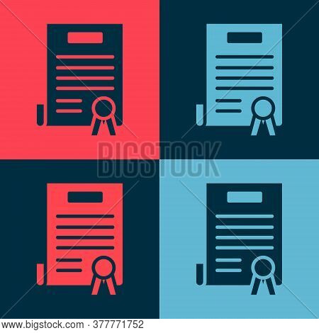 Pop Art Declaration Of Independence Icon Isolated On Color Background. Vector Illustration