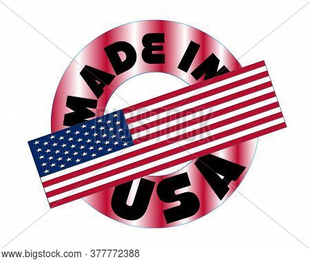 Made In Usa Red Vector Graphic. Round Rubber Stamp Isolated On White Background. With Vintage Textur