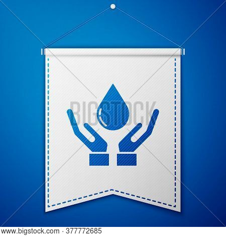 Blue Washing Hands With Soap Icon Isolated On Blue Background. Washing Hands With Soap To Prevent Vi
