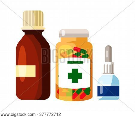 Pharmaceutical Syrup, Tablets, Drops For Treatment. Glass And Plastic Bottles, Pills Set. Cartoon Do