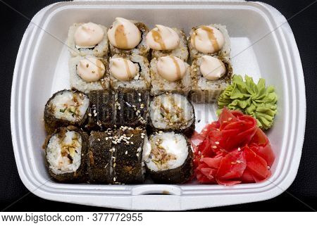 Hot Fried Sushi Roll With Salmon, Eel, Calf Caviar And Cheese. Sushi Menu. Japanese Food. Hot Fried