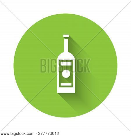 White Glass Bottle Of Vodka Icon Isolated With Long Shadow. Green Circle Button. Vector Illustration
