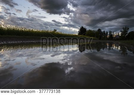 A Puddle Reflection On A Rural Township Road In Rocky View County Alberta After A Thunderstorm.