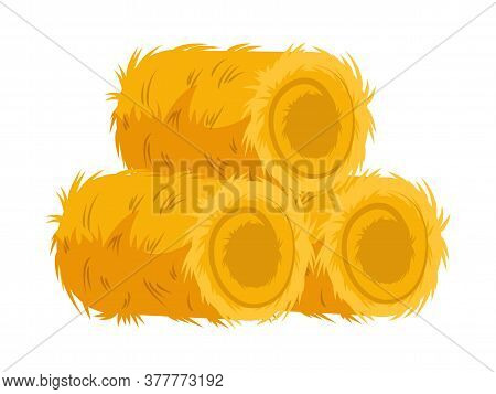 Farming Dry Hay Bale Haycock Isolated On White. Agricultural Rural Yellow Straw Haystack. Farm Agric