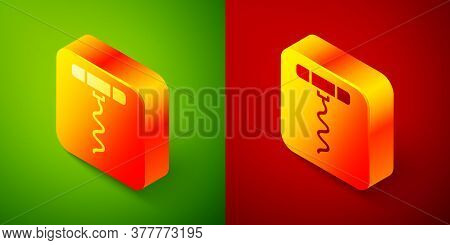 Isometric Wine Corkscrew Icon Isolated On Green And Red Background. Square Button. Vector Illustrati