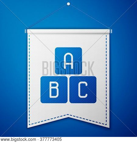 Blue Abc Blocks Icon Isolated On Blue Background. Alphabet Cubes With Letters A, B, C. White Pennant