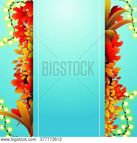 Autumn Banner Template Design With A Blank Large Stripe For Text In The Middle, Autumn Leaves And Au