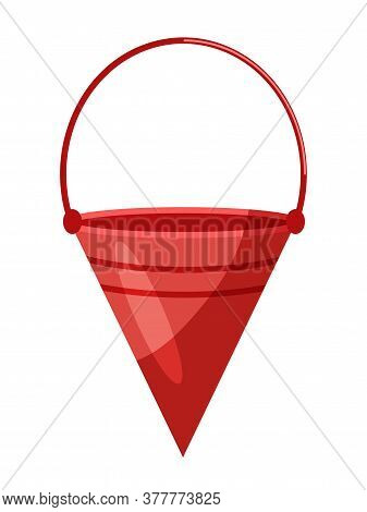 Flat Traditional Red Fire Cone-shaped Metal Bucket Isolated On White. Firefighting Equipment Using F