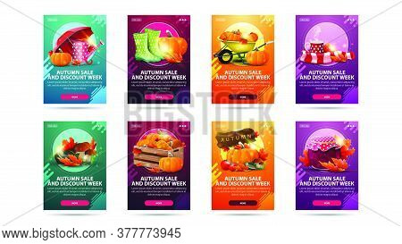 Autumn Sale And Discount Week, Large Set Of Modern Vertical Discount Banners With Buttons And Autumn