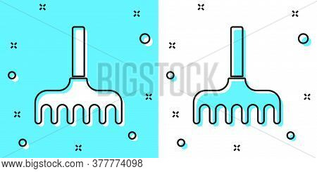 Black Line Garden Rake Icon Isolated On Green And White Background. Tool For Horticulture, Agricultu