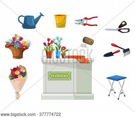 Isolated Florist Equipment For Flower Shop Set. Potted Plants, Bouquet, Desk Counter, Scissors, Clip