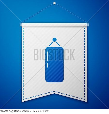 Blue Punching Bag Icon Isolated On Blue Background. White Pennant Template. Vector Illustration
