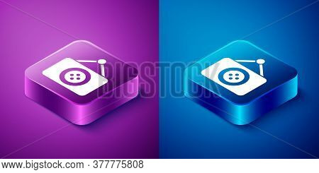Isometric Tailor Shop Icon Isolated On Blue And Purple Background. Square Button. Vector Illustratio