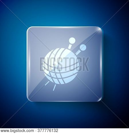 White Yarn Ball With Knitting Needles Icon Isolated On Blue Background. Label For Hand Made, Knittin