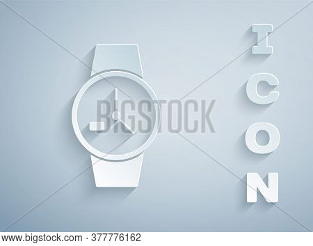 Paper Cut Wrist Watch Icon Isolated On Grey Background. Wristwatch Icon. Paper Art Style. Vector Ill