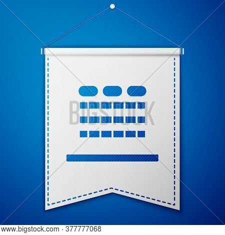 Blue Cinema Auditorium With Screen And Seats Icon Isolated On Blue Background. White Pennant Templat