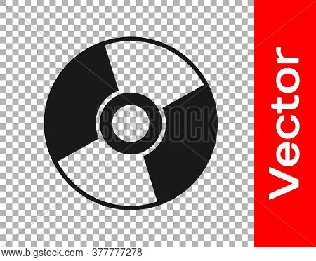 Black Cd Or Dvd Disk Icon Isolated On Transparent Background. Compact Disc Sign. Vector Illustration
