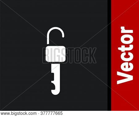 White Unlocked Key Icon Isolated On Black Background. Vector Illustration