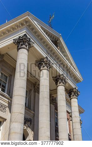 Pillars On The Front Facade Of The Town Hall In Groningen, Netherlands