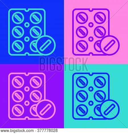 Pop Art Line Pills In Blister Pack Icon Isolated On Color Background. Medical Drug Package For Table