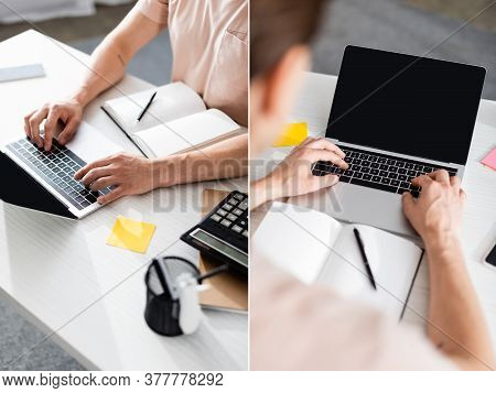 Collage Of Teleworker Typing On Laptop With Blank Screen On Table With Stationery At Home, Earning O