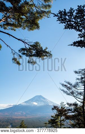 View Of Mount Fuji Through The Trees In The Late Afternoon From Kawaguchiko Ropeway Trails In Autumn