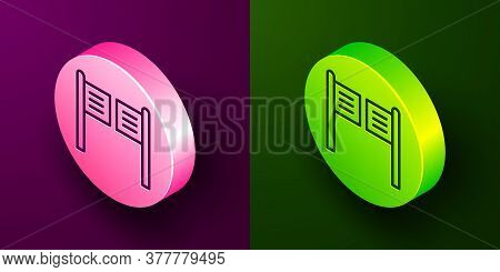 Isometric Line Old Western Swinging Saloon Door Icon Isolated On Purple And Green Background. Circle