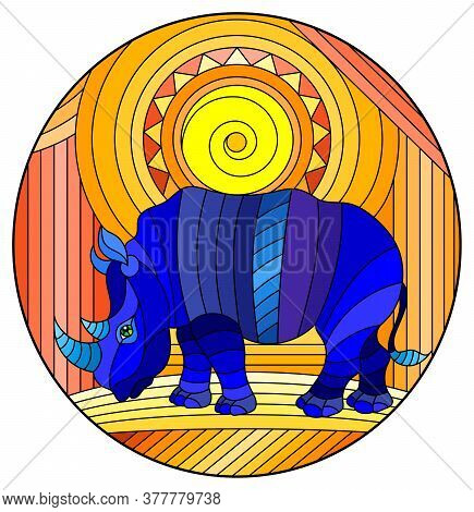 Illustration In Stained Glass Style With Funny Blue Rhino And Sun On Abstract Orange Background, Ova